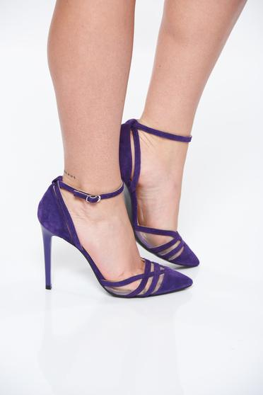 Pantofi mov elegant din piele naturala cu toc inalt