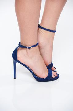 Sandale albastre elegante din piele naturala cu toc inalt cu barete subtiri