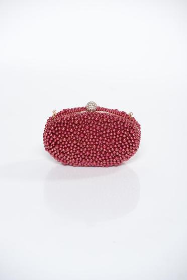Geanta dama rosie plic cu maner lung tip lantisor cu aplicatii cu perle