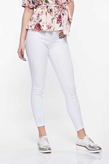 Blugi SunShine albi casual skinny cu talie medie din bumbac elastic cu buzunare in fata si in spate