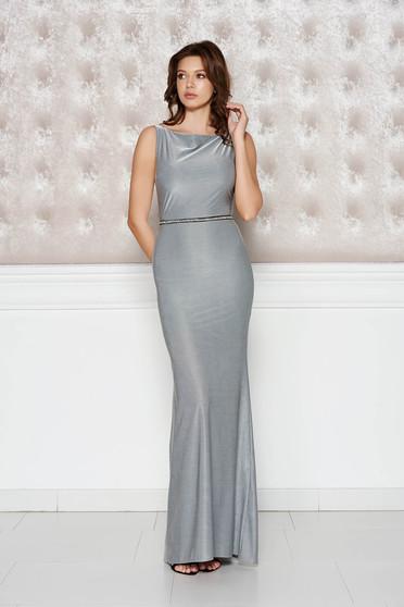 Rochie StarShinerS argintie de ocazie tip sirena din material lucios si elastic