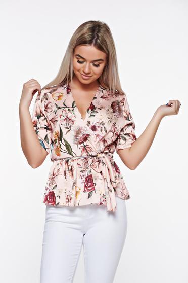 Bluza dama SunShine rosa eleganta cu croi larg cu decolteu in v din material satinat cu elastic in talie