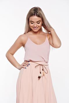 Top SunShine rosa elegant cu croi larg din material vaporos si transparent