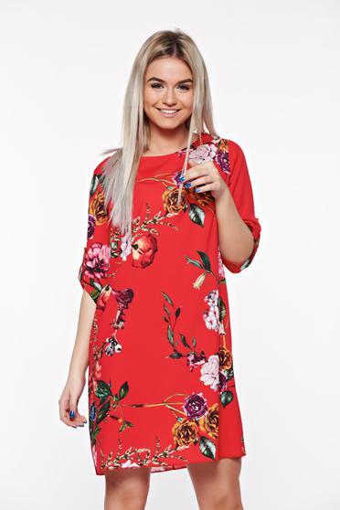 Rochie SunShine rosie casual cu croi larg din material vaporos cu imprimeuri florale