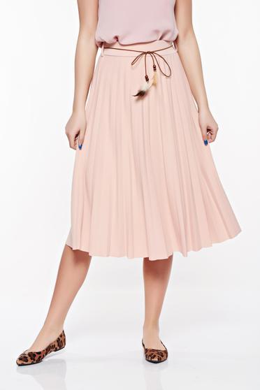 Fusta SunShine rosa eleganta cu talie inalta din material elastic si fin accesorizata cu snur