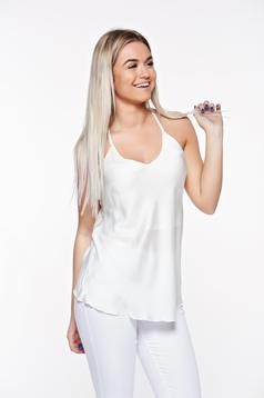 Top SunShine alb elegant cu croi larg din material vaporos cu bretele