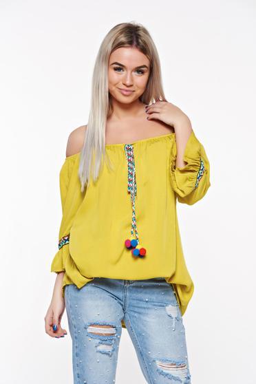 Bluza dama SunShine galbena casual cu croi larg din bumbac neelastic accesorizata cu snur