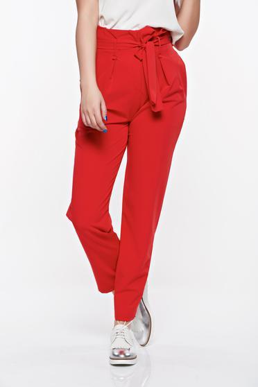 Pantaloni SunShine rosii casual cu talie inalta din material usor elastic cu buzunare