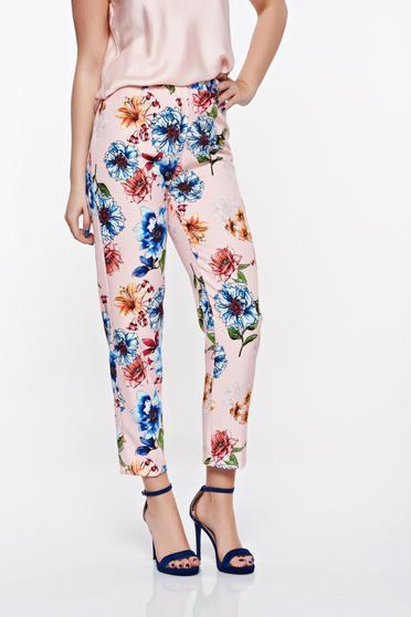 Pantaloni SunShine rosa eleganti conici din stofa neelastica cu talie medie