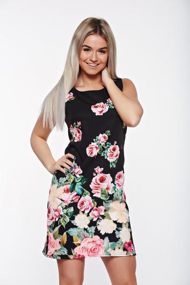 Rochie SunShine rosa eleganta cu croi in A cu imprimeuri florale si croi larg
