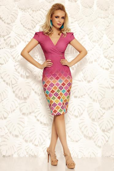 Rochie Fofy mov office tip creion din material elastic si fin cu decolteu in v
