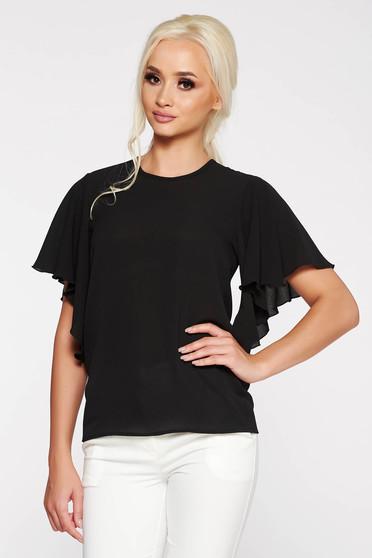 Bluza dama PrettyGirl neagra eleganta cu croi larg din material vaporos si usor transparent