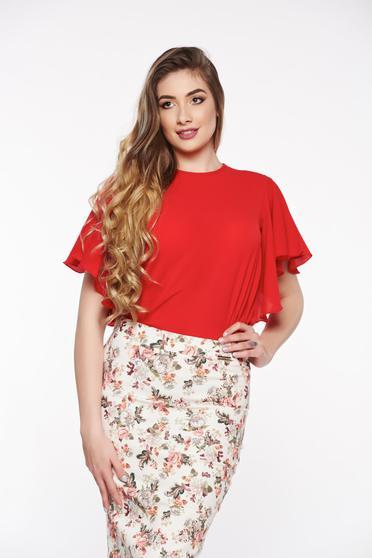 Bluza dama PrettyGirl rosie eleganta cu croi larg din material vaporos si usor transparent