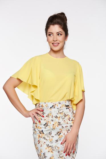 Bluza dama PrettyGirl galbena eleganta cu croi larg din material vaporos si usor transparent