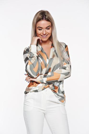 Bluza dama PrettyGirl khaki eleganta cu croi larg petrecuta din material satinat