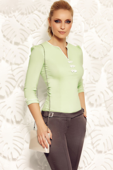 Camasa dama Fofy verde-deschis office din bumbac elastic cu insertii de broderie