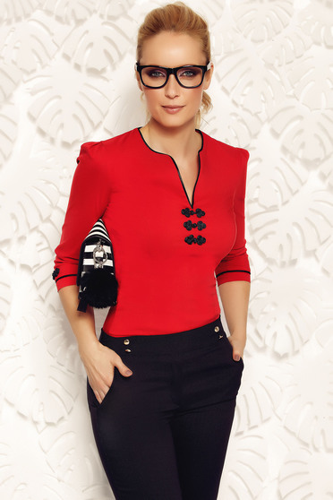 Camasa dama Fofy rosie office din bumbac elastic cu insertii de broderie