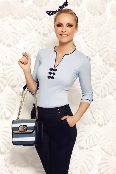 Camasa dama Fofy albastra office din bumbac elastic cu insertii de broderie