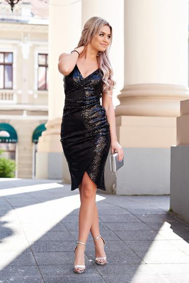 Rochie StarShinerS neagra de ocazie din material usor elastic cu paiete captusita pe interior