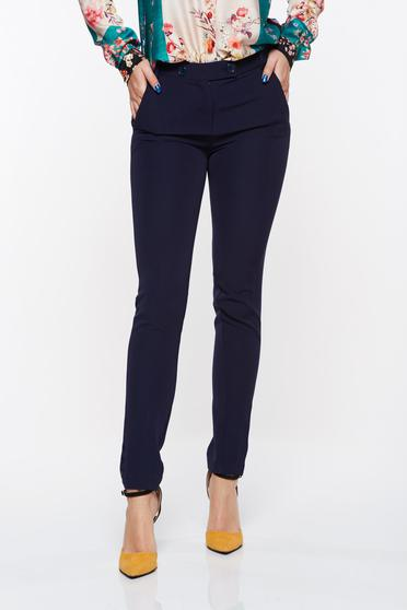 Pantaloni PrettyGirl albastri-inchis office conici din stofa usor elastica cu talie medie si buzunare