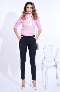 Pantaloni PrettyGirl albastri-inchis office cu talie medie din stofa usor elastica cu buzunare