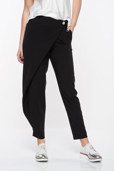Pantaloni PrettyGirl negri eleganti cu talie medie din material vaporos cu buzunare