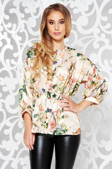 Bluza dama PrettyGirl crem eleganta din material satinat si vaporos cu maneci bufante si peplum