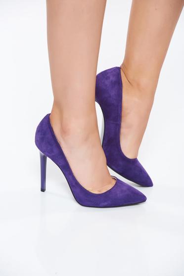 Pantofi mov eleganti din piele naturala cu toc inalt si varful usor ascutit