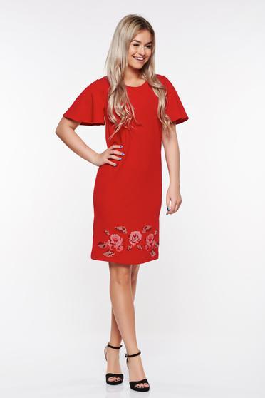 Rochie StarShinerS rosie eleganta brodata cu croi larg din material elastic