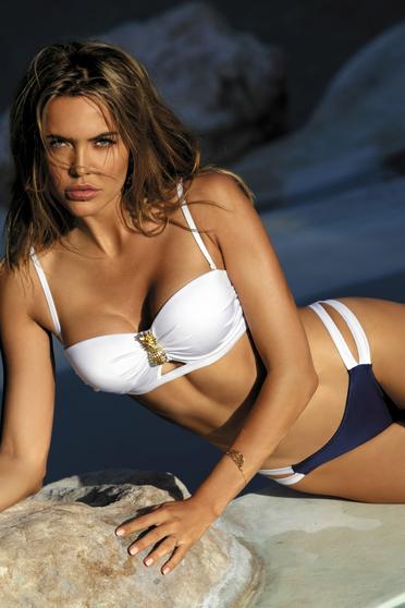 Costum de baie alb cu slip brazilian si sutien balconet cu push-up si bretele detasabile si ajustabile
