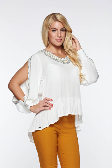Bluza dama Top Secret alba casual cu croi larg din material vaporos neelastic cu maneci decupate