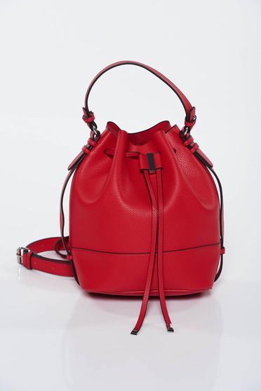 Geanta dama Top Secret rosie casual din piele ecologica cu maner lung reglabil