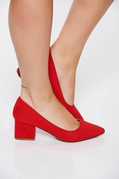 Pantofi Top Secret rosu elegant cu toc patrat cu varful usor ascutit