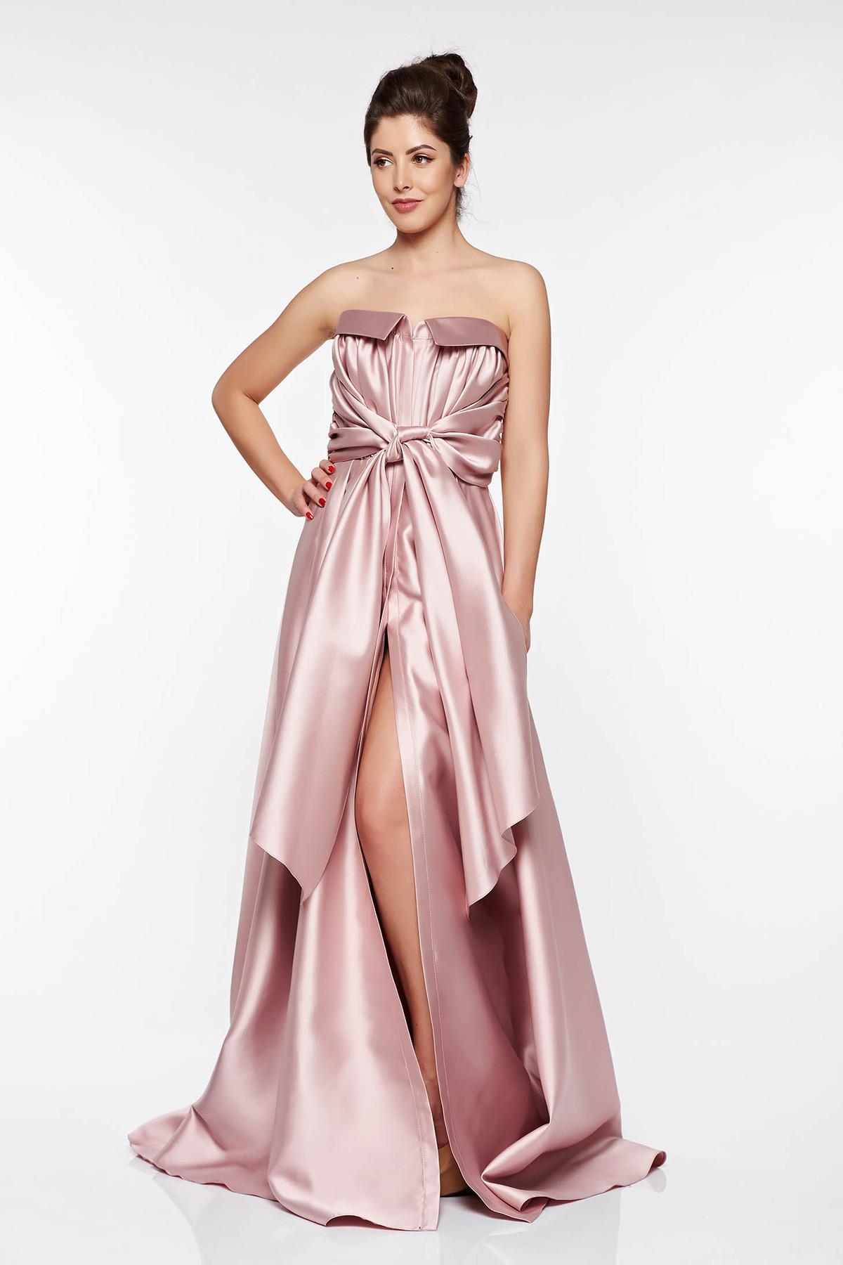 Rochie LaDonna rosa de ocazie asimetrica din material satinat cu umeri goi