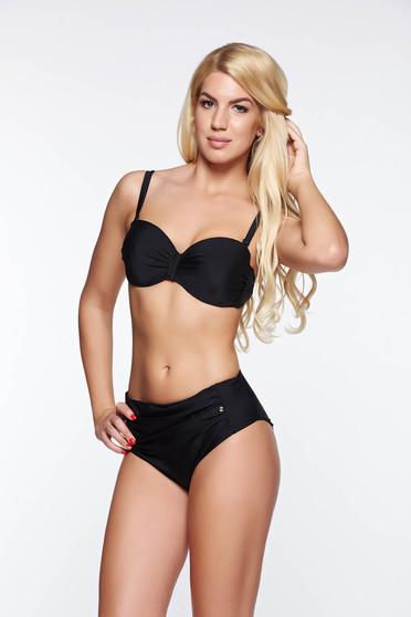 Sutien de baie Top Secret negru cu push-up din material elastic si fin cu bretele ajustabile si detasabile