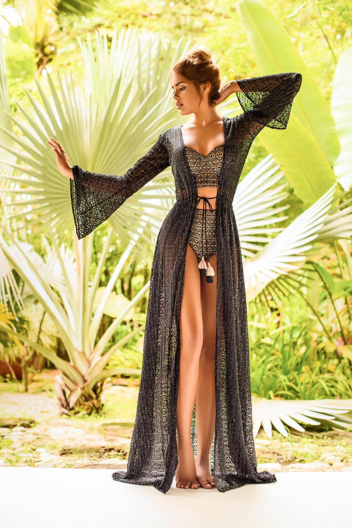 Costum de baie Cosita Linda negru cu slip clasic cu talie inalta si sutien balconette din material auriu imagine