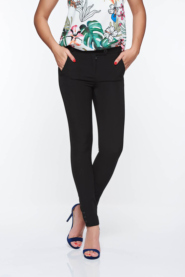 Pantaloni PrettyGirl negri office cu talie medie din stofa usor elastica cu buzunare