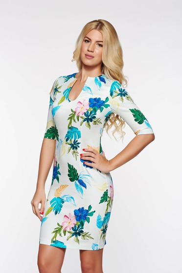 Rochie PrettyGirl albastra eleganta cu decolteu in v din bumbac cu imprimeuri florale