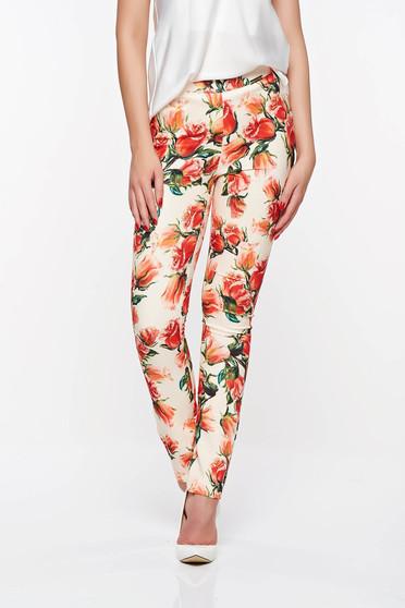 Pantaloni PrettyGirl crem office conici din material usor elastic cu talie medie