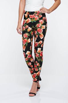 Pantaloni PrettyGirl negri office conici din material usor elastic cu talie medie