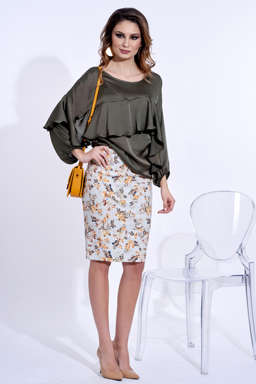 Bluza dama PrettyGirl khaki eleganta cu croi larg din material vaporos cu aspect satinat