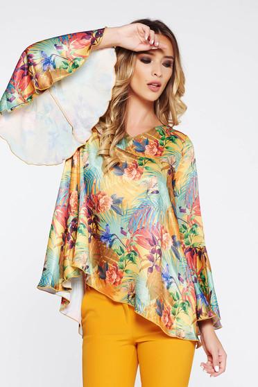 Bluza dama PrettyGirl maro eleganta cu croi larg cu maneci clopot din material vaporos cu aspect satinat