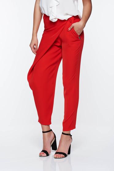 Pantaloni PrettyGirl rosii eleganti cu talie medie din material vaporos cu buzunare