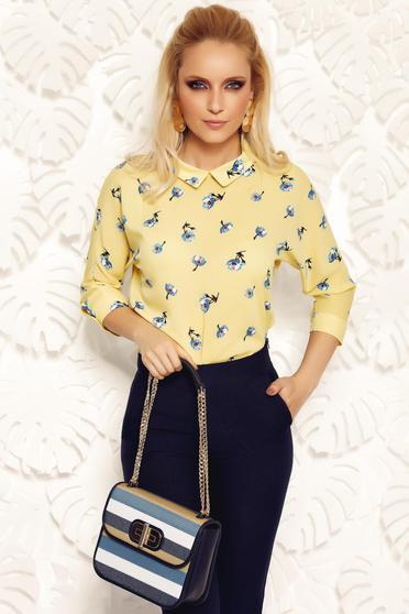 Bluza dama Fofy galbena eleganta cu croi larg din material vaporos cu guler ascutit