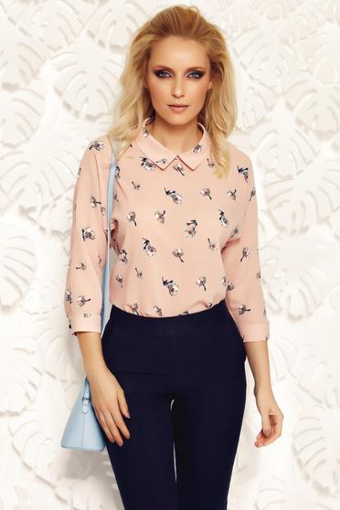 Bluza dama Fofy rosa eleganta cu croi larg din material vaporos cu guler ascutit