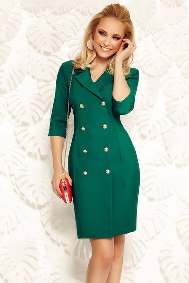 Rochie Fofy verde-inchis eleganta tip sacou din material moale usor elastic