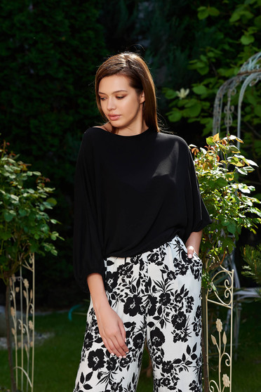 Bluza dama StarShinerS neagra eleganta cu croi larg din material vaporos cu elastic in talie