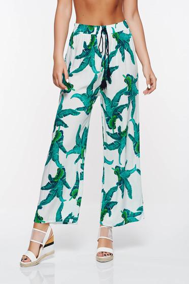 Pantaloni SunShine verzi casual cu croi larg din bumbac cu elastic in talie