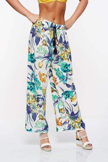 Pantaloni SunShine albastri casual cu croi larg din bumbac cu elastic in talie