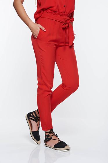 Pantaloni SunShine rosii casual cu talie inalta din material neelastic cu buzunare